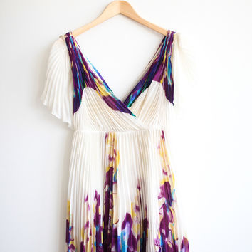 Diane Von Furstenberg Dvf Gorgeous Purple Blue Yellow And Cream Printed Dress