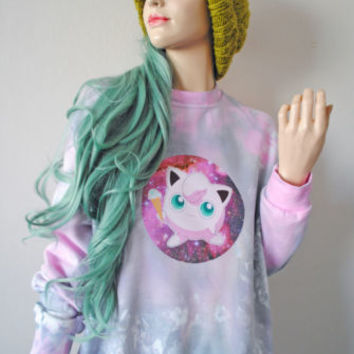 Pink Jigglypuff Ice Cream Astral Galaxy 90s Long Oversized Grunge Tie Dye Jumper
