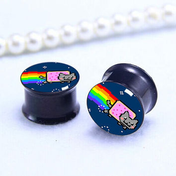8  bit double flared plugs   , Screw on Gauge ear plugs , Black Titanium ear plugs ,Pricing body jewerly