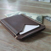 CRAZY HORSE Leather, VISA card wallet, Personalized wallet, Handmade, Initial wallet, Husband gift idea