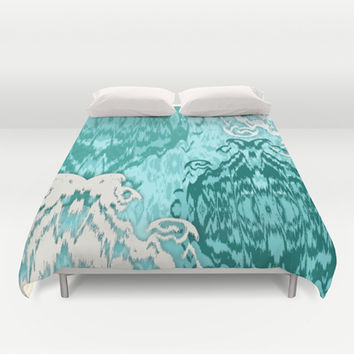 Ikat Medallions: Sea Green Duvet Cover by Eileen Paulino