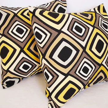 2 Decorative Throw Pillow Covers - Yellow Black and Brown Diamond Print - 16 x 16 inches Cushion Cover Accent Pillow