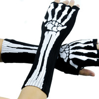Bone Skeleton Fingerless Gloves Anime Cosplay Arm Warmers