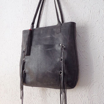 Distressed Gray Leather Tote with Fringes and Tassel, Handmade and Hand Stitched Bag