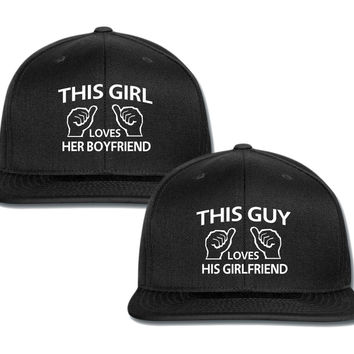 this guy loves gis gf this girl loves her bf couple matching snapback cap