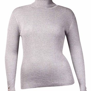 Style & Co. Women's Ribbed Button Sleeve Sweater