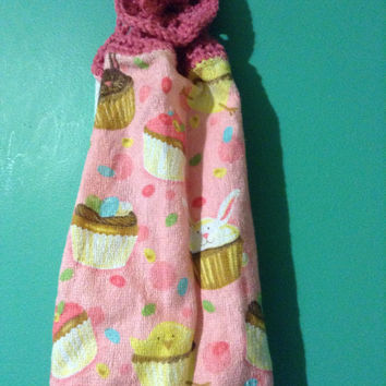 Crochet Kitchen Hand Towel Easter