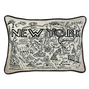 New York Black and White Embroidered Pillow