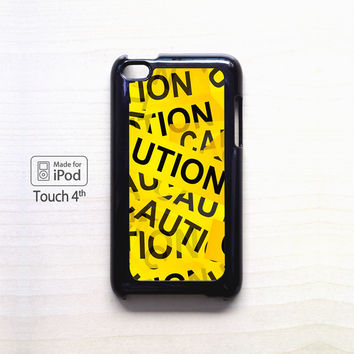 Caution Yellow Tape for Ipod 4/Ipod 5 apple case