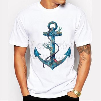 Boathook Anchor Printed T-Shirt Harajuku