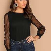 Pearl Beaded Mesh Sleeve Top
