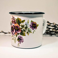 Enamel Mug, Big White Mug with Floral Pattern, Camping Mug
