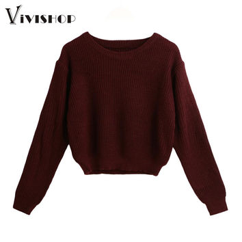 2016 Fashion Winter Womens Pullover Tops Solid O-Neck Long Sleeve Knitting Sweater Elegant Ladies Warm Cropped Knitwear Wine Red