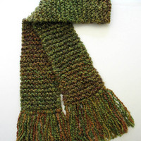 Celtic Green Scarf Chunky Knit Long Men Women Hand Knitted Winter Scarf 6 ft long