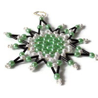 seed bead star, christmas ornament in black, green and white, tree ornament or gift tag, decorative item