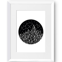Stars, Polygon art, Line art, Swedish, Home Decor, Mid Century Modern, Scandinavian Print, Geometric art, Printable art, Digital Print