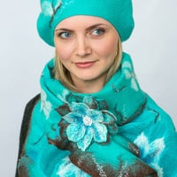 Womens felted set: scafr+beret, wool beret,turquoise, chocolate ,felted wool, ooak, eco-friendly,wool beret