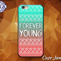 Forever Young Quote Pink and Mint Aztec Tribal Pattern Custom Case For iPhone 4 and 4s and iPhone 5 and 5s and 5c and iPhone 6 and 6 Plus +
