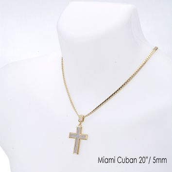 "Jewelry Kay style Men's Iced Out Cross Pendant 20"" / 24"" Miami Cuban Chain Necklace MCP 2044 G"