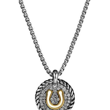 David Yurman 'Cable Collectibles' Horseshoe Charm Necklace with Diamonds & 18K Gold | Nordstrom