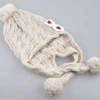 "clothesshow Cute Beige Ear Flap Baby Kids Knit Hat Cap Pom-pom Top 56cmx20cm(22""x7-7/8"") = 1958399172"
