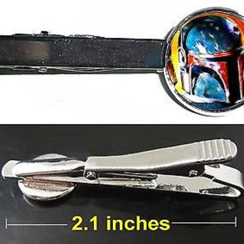 Star Wars Boba Fett Tie Clip Clasp Bar Slide Silver Metal Shiny