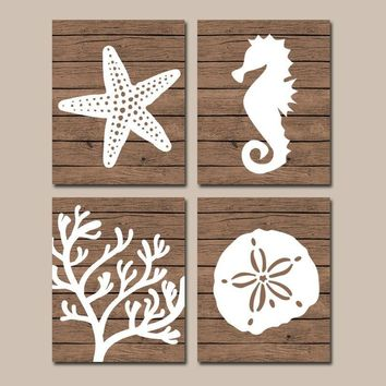 Beach BATHROOM Wall Art, Nautical CANVAS or Prints, Nautical Nautical Bath Decor, Starfish Seahorse, Coral Reef, Wood Plank Design, Set of 4
