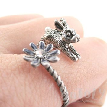 Leaping Bunny Rabbit and Flower Wrap Around Adjustable Ring in Silver