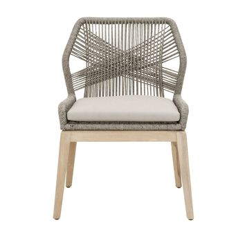 Loom Outdoor Dining Chair (Set of 2) Platinum Rope, Smoke Gray Seat, Stone Wash Teak