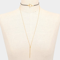 Metal Bar Pendant Suede Toggle Choker Layered Necklace - Gold