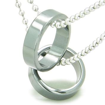 Amulet Love Set Hematite Gemstone Rings Boyfriend Girlfriend Friendship Pendant Necklace Necklaces