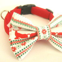 Christmas dog collar Bow tie dog collar Pet collar Deer print bow tie Large dog collar Collar with bow tie