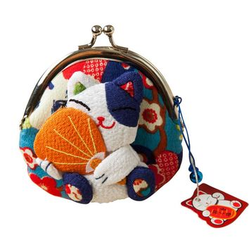 Lucky cat coin purse,coin bags,Zero Wallet,Japanese kimono fabric coin bag 8 styles monederos