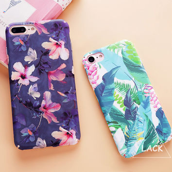 Fashion Colorful Flower Plants Leaves Case For iphone 7 Case Cute Cartoon Cat Leaf Back Cover Phone Cases For iphone7 6 6S PLus