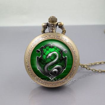 Salazar Slytherin Harry Potter Pocket Watch Locket Necklace,vintage pendant Pocket Watch Locket Necklace