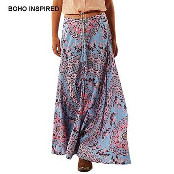 Boho Inspired floral print summer women's skirt bohemian style elastic wasit buttons tassel belt long maxi skirts brand clothing
