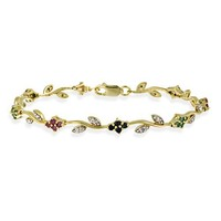 Gold Tone over Sterling Silver Ruby, Sapphire, & Emerald Diamond Accent Flower Bracelet