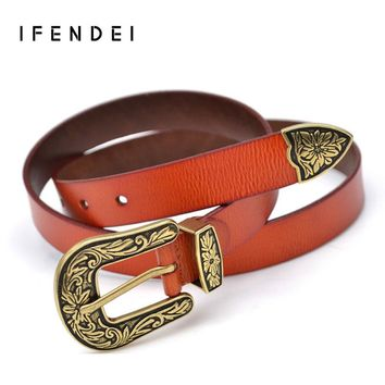 IFENDEI Fashion Belt Women Vintage Split Thick Leather Belts High Quality Wild Ladies Flower Print Pin Buckle Waist For Jeans
