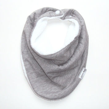 Baby Bandana Bib Scarf in Grey Jersey Knit with Snap Closure for Boy or Girl