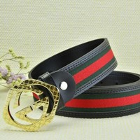 Cheap GUCCI Woman Men Fashion Smooth Buckle Belt Leather Belt for sale q_2291738334_061