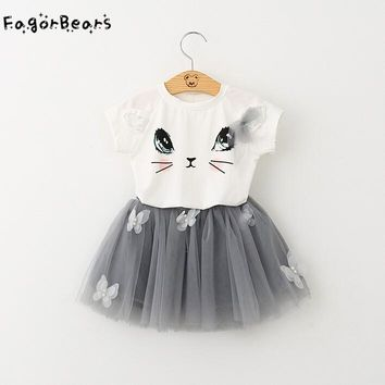 FagorBears Summer Casual Style Girls Clothings Sets Kitten Printed Children's Chothings Cat T-shirt+Dress 2Pc For Girl Clothes