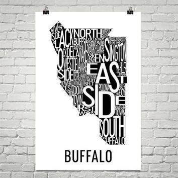 Buffalo Neighborhood Typography Prints – Modern Map Art
