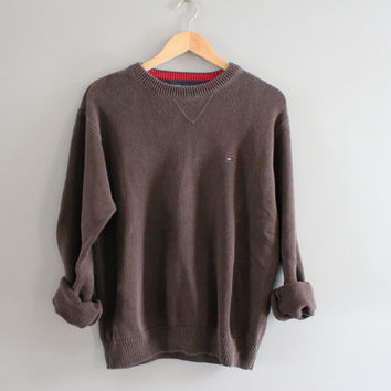 Tommy Hilfiger Sweater Brown Cotton Sweater Brown Pullover Slouchy Sweater V-neck Unisex Knit Minimalist Vintage 90s Size M - L