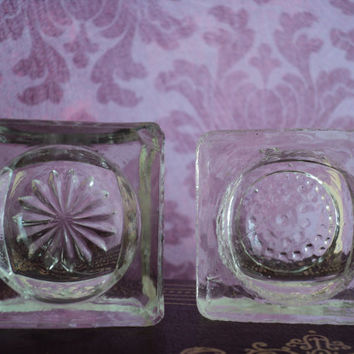 Antique Salts Fine Dining Tableware Glass Table Salt Servers Cottage Chic Decor Mismatched Set of Two Salts Wedding or Mothers Day Gift