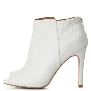 Qupid Croc-Textured Peep Toe Booties by Charlotte Russe - White