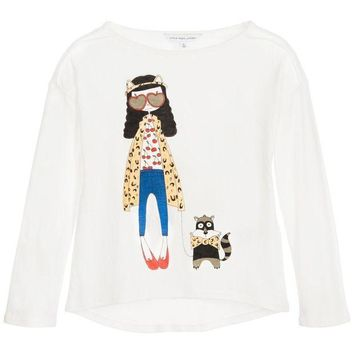 MDIGMS9 Little Marc Jacobs Girls 'Miss Marc' White T-shirt