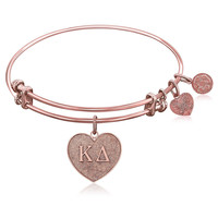 Expandable Bangle in Pink Tone Brass with Kappa Delta Symbol