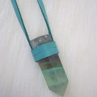 Turquoise Leather Wrapped Fluorite Terminated Point Necklace