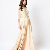 1930s Style Gold Iridescent Deco Beaded Chiffon Long Evening Gown