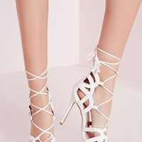 Missguided - Tassel Trim Lace Up Gladiator Sandals White